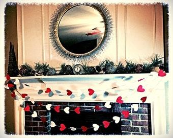 Heart garland.  Valentine Day garland.  Valentine day party decorations.   Photography back drop.   Heart banner.  Valentine day banner
