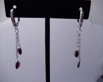 Beautiful Red Garnet Gemstone Dangle Earrings