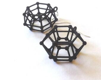 Donutonium -- Black 3D Printed Earrings