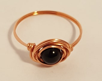 Black Onyx Wire Rings