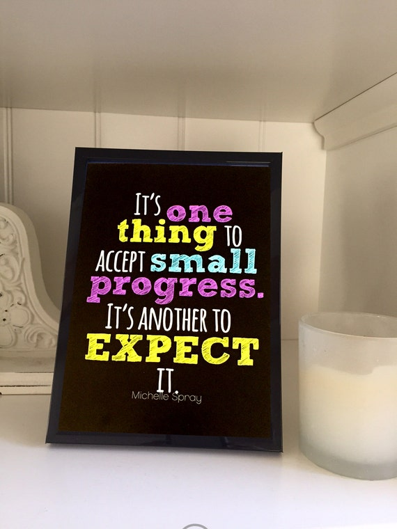 Small progress quote print 5x7, WITH 5x7 black frame, art quote, expect progress quote, quote in frame, gifts under 15, small progress blk