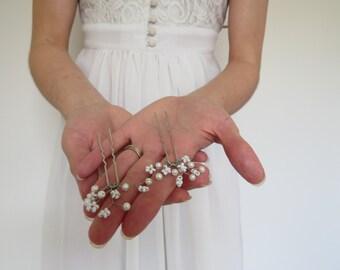 Wedding Hair Pin set of Two (2), wedding hairpiece, wedding accessory, bridesmaid accessories, boho wedding, bridesmaid pins, Babies breath