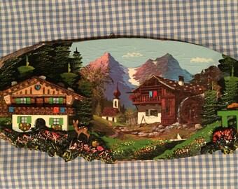 Vintage Hand-Painted Wooden Art, Swiss Chalet w/Deer, Faun, Handpainted in Austria