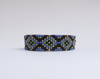 Beaded Leather Adjustable Cuff Bracelet - Chu'mana