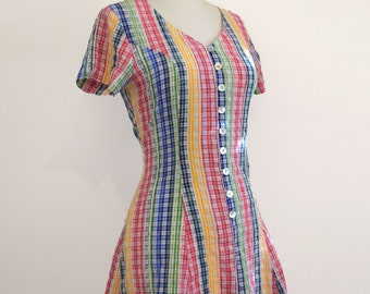 Vintage 1960-1970s Dress//Multi Gingham Vintage Dress// Size Small