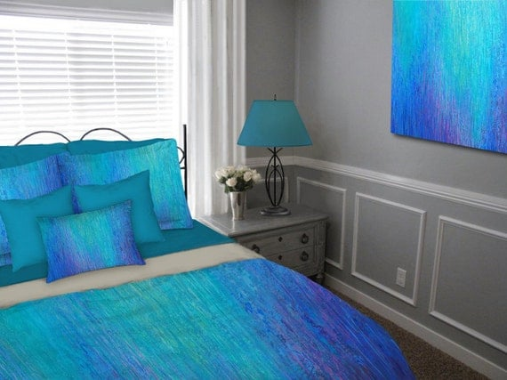 Duvet cover queen king full twin abstract art jewel tone for Cobalt blue bedroom ideas
