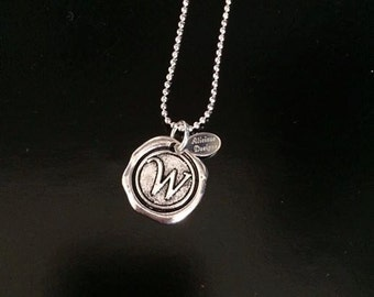 Initial wax seal charm necklace
