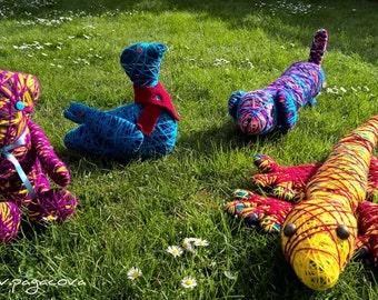 Handmade animals from acrylic wool