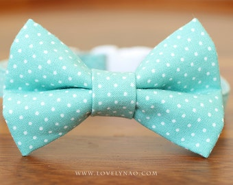 Soft Mint Cat Bow Tie Collar