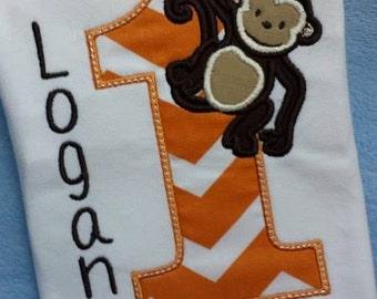 Personalized Monkey Birthday Shirt