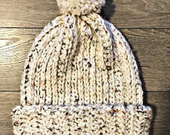handcrafted crochet chunky pom beanie