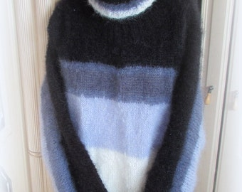 Striped oversized Mohair Sweater – Black, white grey and blue