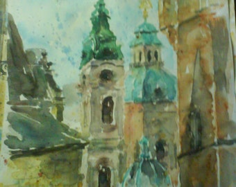 Watercolour Medieval roofs of Prague