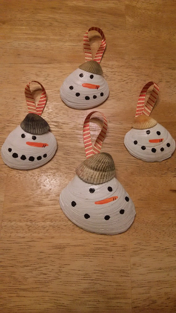 Items similar to clam shell snowman ornaments on etsy
