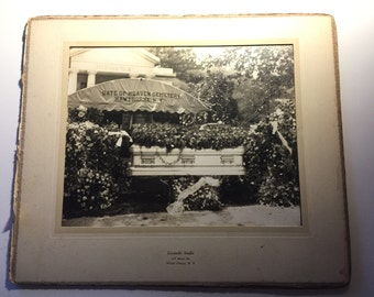 1920s Deathbed photo. Coffin outside a funeral home in NY