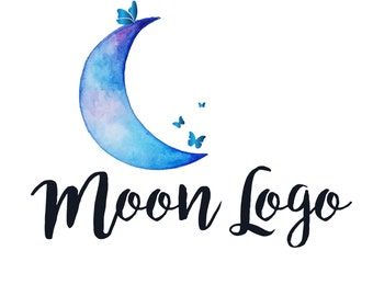Custom logo design, moon and butterfly logo,  blue moon watermark photography logo blue moon butterfly logo design, hand painted logo moon