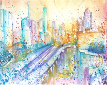 New York Manhattan Large Original Watercolor Painting Impressionist Watercolour Wall Colorful Modern Watercolor Art Gift ideas