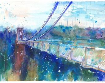 Bristol Art Print from Original Watercolour Painting Suspension Bridge Impressionist Watercolor Wall art Valentines Day sale Gift Idea