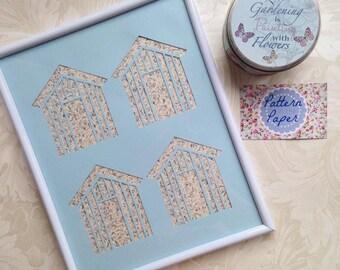 8x10 Beach Huts Framed Papercut Design Bathroom Decor Gift Ideas