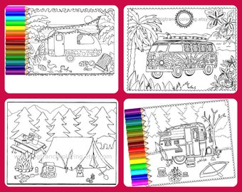 Camping Coloring Pages - Set of 4 - Colouring - Coloring for Grown Ups - Retro Bus on Beach - Hand Drawn - Printable Digital Download