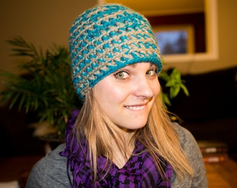 Grey and Blue Handmade Tuque / Beanie -- Wool & acrylic blend