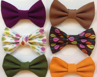Fall Colored Hairbow Set-Mustard Hairbow-Plum Hairbow-Olive Hairbow-Brown Hairbow-Fall Leaves Hairbow