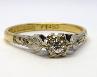 1940s Style Diamond Solitaire Ring   Size M3/4 (UK) 6.75 (US)   Free Sizing / Shipping