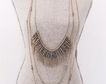 3 layered fringe necklace