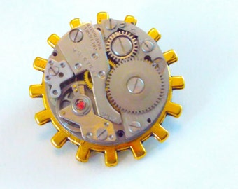 Upcycled, sun pin, watch movement, Steampunk pin, steampunk brooch, steampunk tie pin, steampunk badge, handmade steampunk, steampunk #4