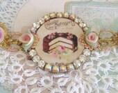 let them eat cake bracelet with handmade porcelain flowers and swarovski crystals marie antoinette