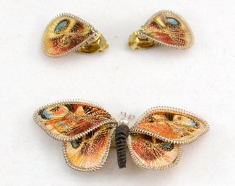Unique Silk Wire BUTTERFLY Pin / Brooch w/ Clip Earring Set....GERMANY.......J396
