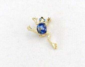 Frog Brooch, Vintage Rhinestone Frog Pin, Frog Pin, Rhinestone Brooch, Classic Frog Brooch         J1048