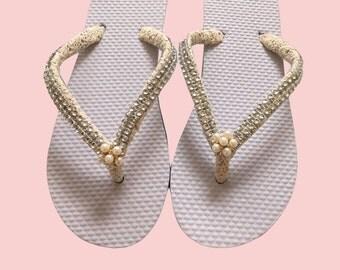Bridal Flip Flops, Wedding Flip Flops, Pearls Rhinestone Flip Flops, Bridesmaid, Beach Wedding Footwear - Custom Colors