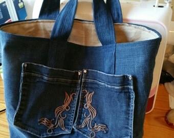 Small tote - handbag in jean - upcycled
