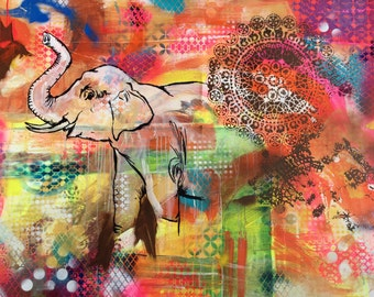 Elephant Painting Print Mixed Media Colorful