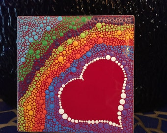 Hand painted heart on tile
