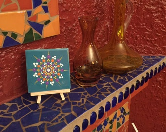 Mandala on tile. Desktop Art. Collection Art. Home Decoration.