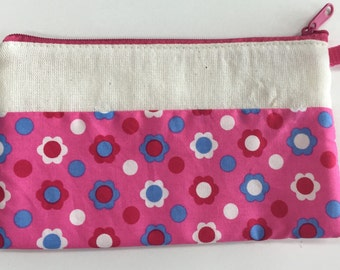 Cotton Coin Purse - pink blue flowers