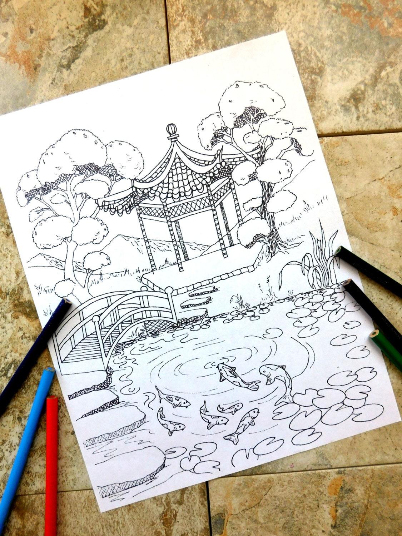 Pagoda pesci di koi colorazione pagine stagno natura for Pesci da stagno