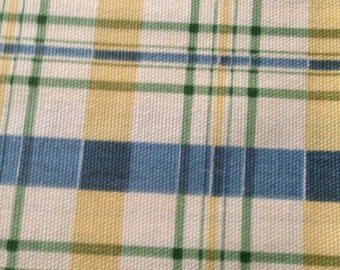 Blue & Gold Plaid Canvas Fabric