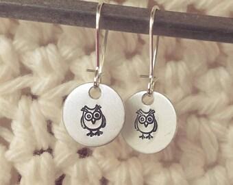 Handstamped Owl Earrings