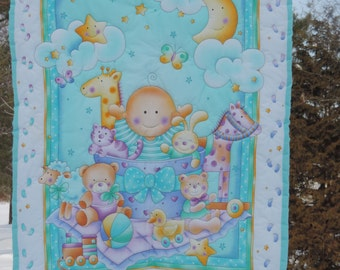 Beautiful Hand Quilted Baby Quilt