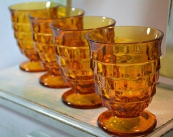 Amber Goblets, Whitehall, Cubist, Stemmed Tumbler, Indiana Glass Co, Amber Glassware, Barware, Mid Century Glass