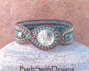 Teal Beaded Bracelet-Turquoise Silver Leather Wrap-Tile Bead Bracelet-Woven Leather Cuff Bracelet-Custom Sizes-The Diamond Princess in Teal