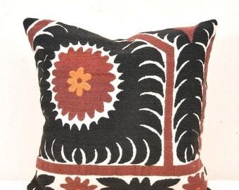 Black Suzani Pillow-Suzani Pillow-Suzani cushion-Vintage uzbek suzani pillow cover