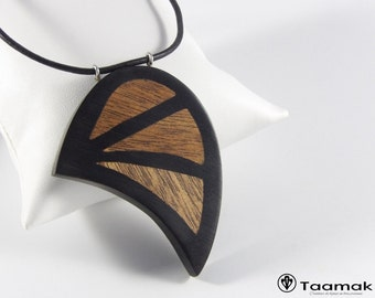 Necklace pendant with inlays in mahogany-necklace H/F-Wood ebony precious-made hand-Piece unique-jewelry Taamak