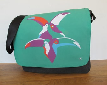 Modern, multifunctional laptop / shoulder bag with prints of own paintings - Copa Toca Toca