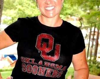 Oklahoma Sooners  rhinestone glitter bling shirt,  all sizes, XS,S,M,L,XXL,1X,2X,3X,4X,5X licensed