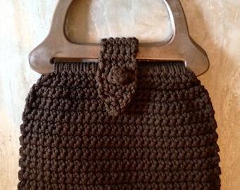 Vintage Crochet Purse 1960s 1970s Handbag Chocolate Brown