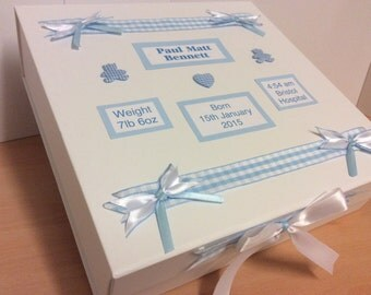 New Baby Boy or Girl Memory Keepsake Box Personalised Christening Gift Present